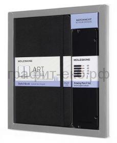 Набор Moleskine Art Collection блокнот Large нелинованный черный+черногр.карандашами BUNDARTGPHAF
