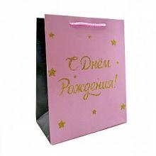"""Пакет подарочный """"С Днем Рождения. Для Нее"""" с глиттером, 18*23*10 см"""