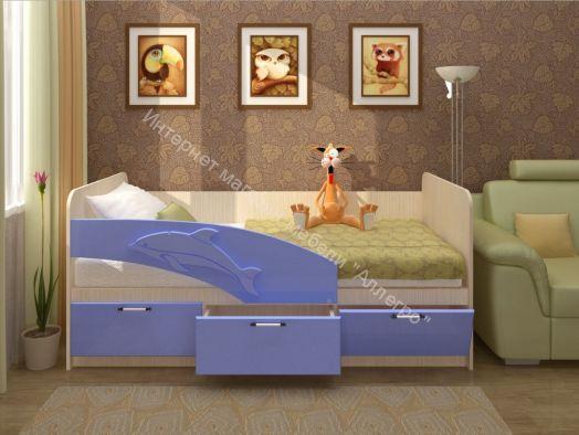 """Кровать """"Дельфин"""" (фасад 3D) 1600 мм (Левый)"""