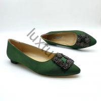Балетки Маноло Бланик (Manolo Blahnik) зеленые купить в интернет магазине