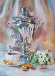 Почтовая открытка Весеннее чаепитие