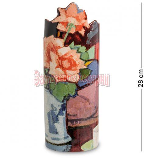 "pr-SDA21 Ваза ""Pink Roses, Chinese Vase"" Сэмюэл Джон Пепло (Silhouette d'art Parastone)"
