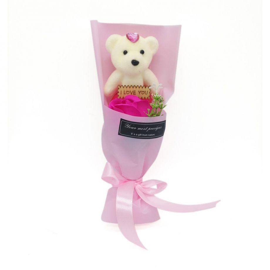 Мыльная роза с мишкой в упаковке, 25х10х9 см, цвет Розовый