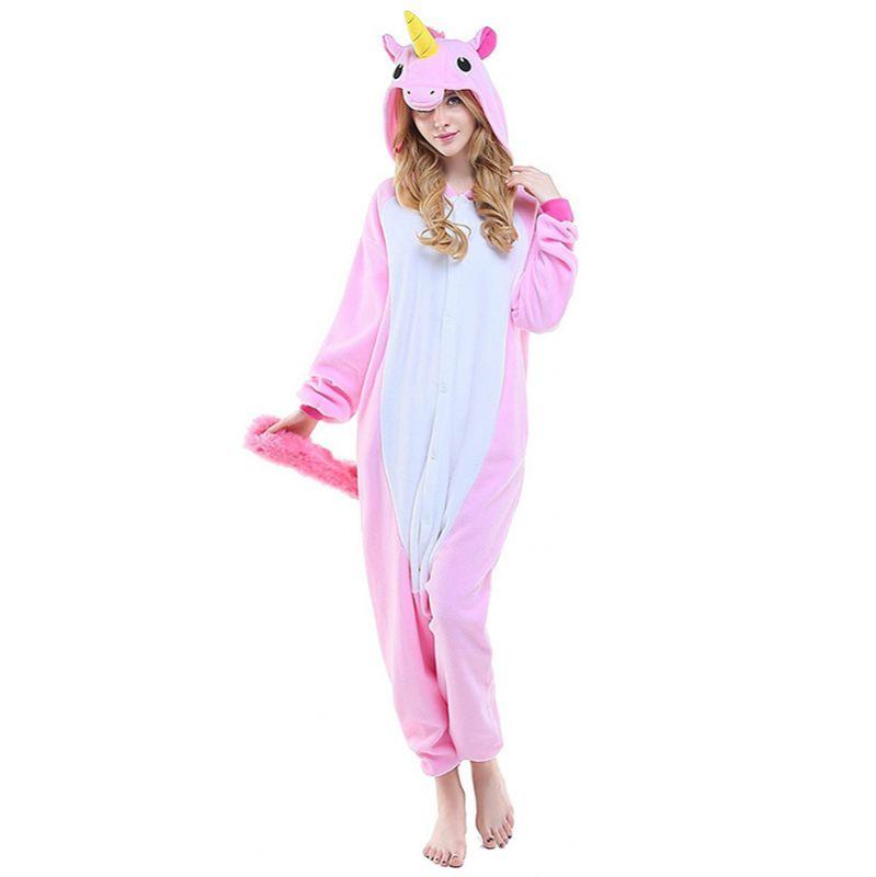 Пижама Кигуруми Единорог Радужный Розовый Премиум