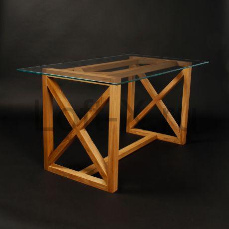 """Обеденный стол  - """"XO"""" из массива дуба со стеклянной столешницей"""