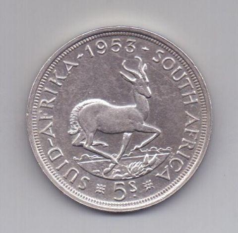 5 шиллингов 1953 года AUNC ЮАР Великобритания