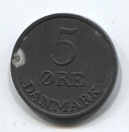 5 эре 1958 года Дания XF