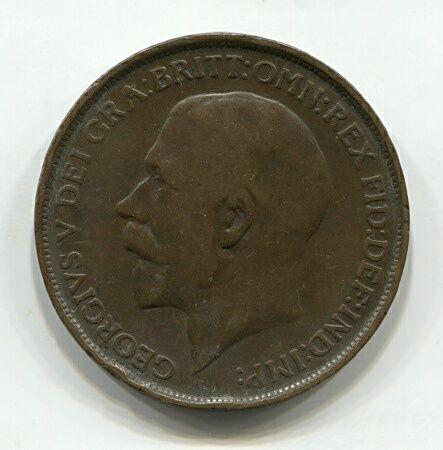 1 пенни 1912 года Великобритания