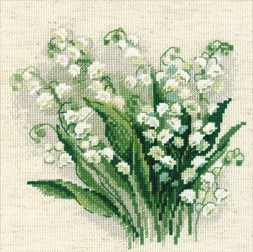 Набор для вышивания крестом Весенние ландыши №1497 фирма Риолис