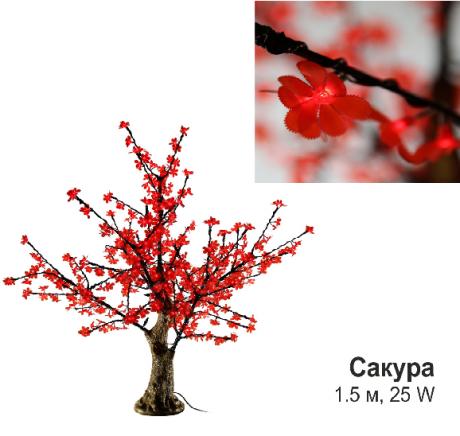 Светодиодное Led деревце «Сакура», красное 1,5 м, 25 W