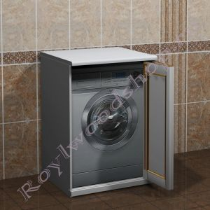 """Шкаф для стиральной машины """"Руссильон PROVENCE-67 белый с золотом"""""""