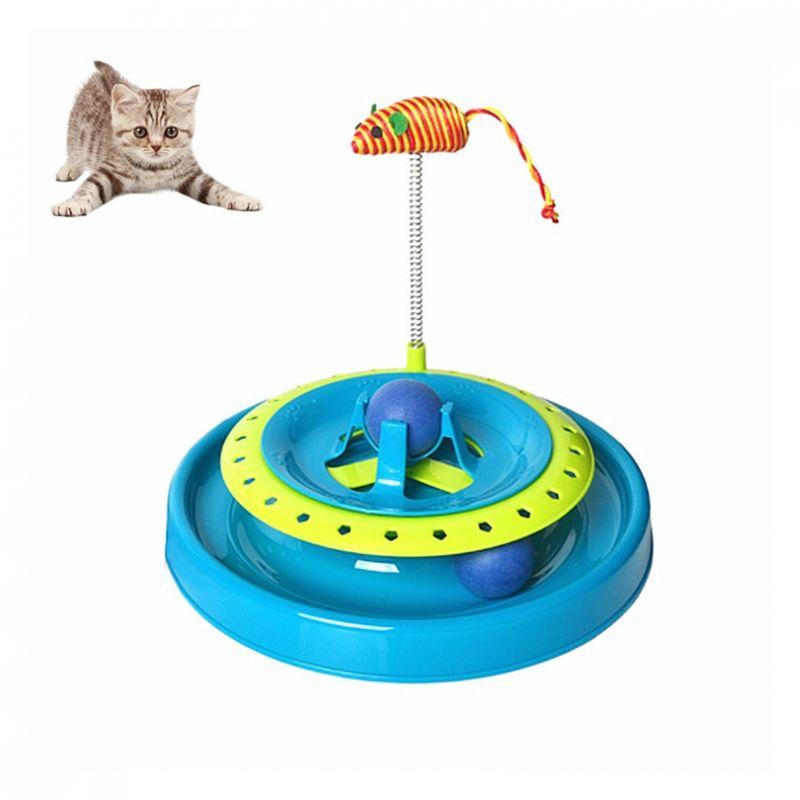 Игрушка-Трек Для Кошек С Двумя Мячиками Cat Scratch Pan (цвет голубой)