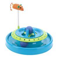 Игрушка-Трек Для Кошек С Двумя Мячиками Cat Scratch Pan (цвет голубой)_3