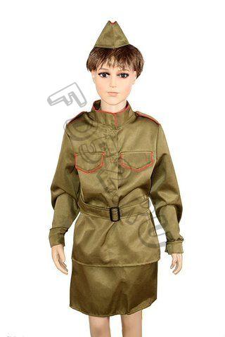 Костюм Солдатка с пилоткой  для девочки  КС129