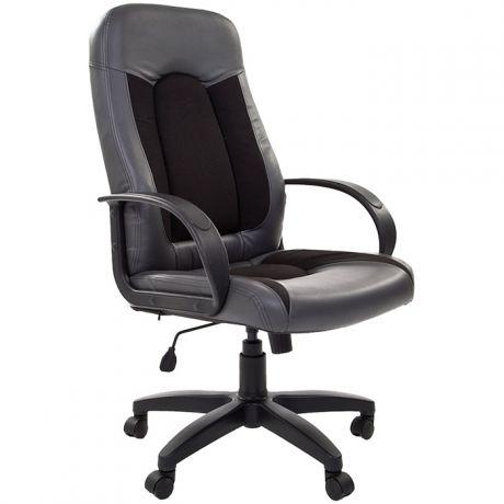 Кресло руководителя Chairman 429 экокожа серая/ткань черная, механизм качания