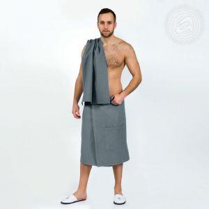 Набор для бани и сауны мужской (килт+полотенце) серый размер Универсальный на резинке