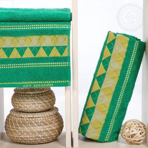 """Набор полотенец махровых """"Геометрия"""" зеленый размер Набор из 2 штук"""