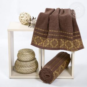 """Набор полотенец махровых """"Орнамент"""" шоколад размер Набор из 2 штук"""