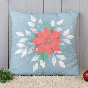 Подушка декоративная с фотопечатью Рождественская звезда 40х40 см, хл. 34%, полиэфир 66%   4413197