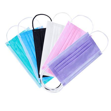Маска спанбонд, трёхслойная с фикатором -  размер 18x9 - 50 штук, цвет: белый, голубой, розовый, чёрный, зелёный, жёлтый, фиолетовый.ПОД ЗАКАЗ.ЦЕНЫ УЗНАВАЙТЕ ПО ТЕЛЕФОНУ.