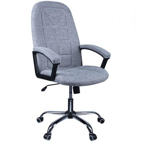 """Кресло руководителя Helmi HL-E89 """"Blocks"""" LUX, ткань SY светло-серая, мягкий подлокотник, хром"""