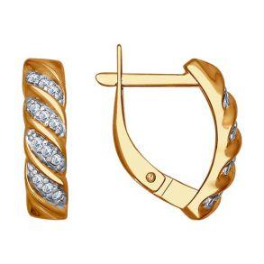 Серьги из золочёного серебра с фианитами 93020762 SOKOLOV