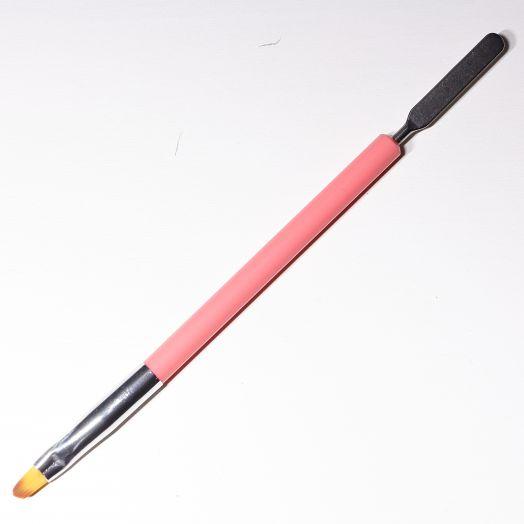 Кисть для геля/полигеля с лопаткой с красной ручкой округлая форма