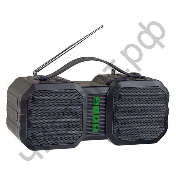 """Колонка универс.с радио Perfeo """"STAND"""" FM, MP3 microSD, USB, AUX, мощность 10Вт, 2400mAh, черная/зеленая PF_A4330"""