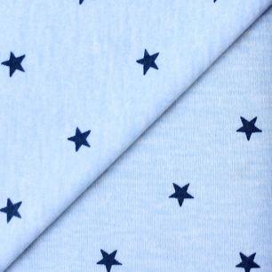 Лоскут трикотажной ткани Голубой с синими звёздами
