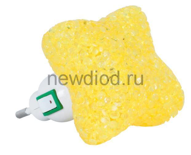 Ночник светодиодный NLA 10-SY ЗВЕЗДА жёлтая с выключателем 230В IN HOME