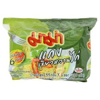 Суп-лапша Зеленый Карри с курицей в брикете Mama 6 шт по 55 гр