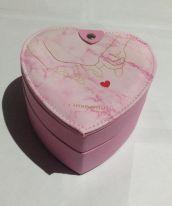 Двухъярусная шкатулка для ювелирных изделий Сердце, 14х14х9 см, розовый