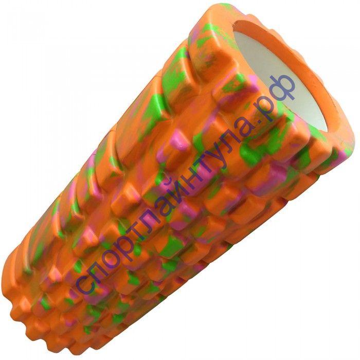 Ролик для йоги LR33х14 ЭВА, оранжевый/мультиколор 33x14 см
