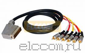 Шнур SCART Plug - 6RCA Plug 1.5М (GOLD) - металл REXANT
