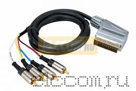 Шнур SCART Plug - 4RCA Plug 1.5М (GOLD) металл REXANT