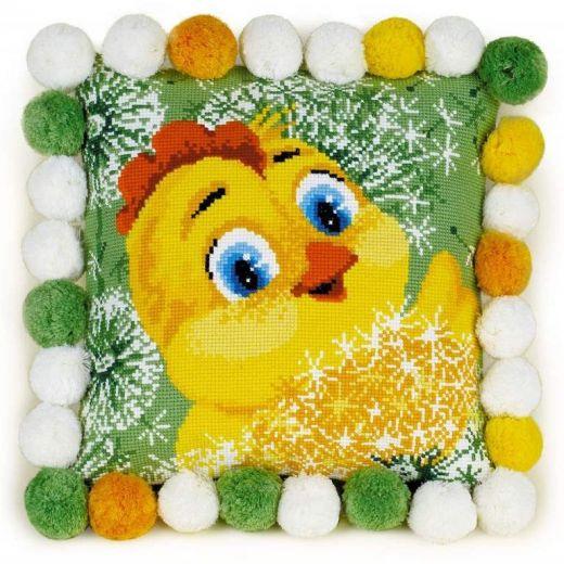 Набор для вышивания крестом Подушка Цыпленок №1589 фирма Риолис