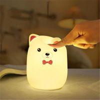 Мягкий Силиконовый Ночник Colorful Silicone Lamp, Розовый Мишка с бабочкой_3