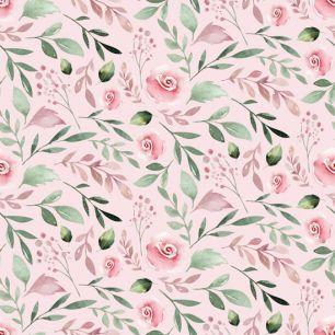 Хлопок Перкаль Розы на розовом