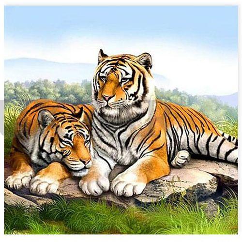 Набор ДТ Алмазная вышивка Тигры 30*30 см