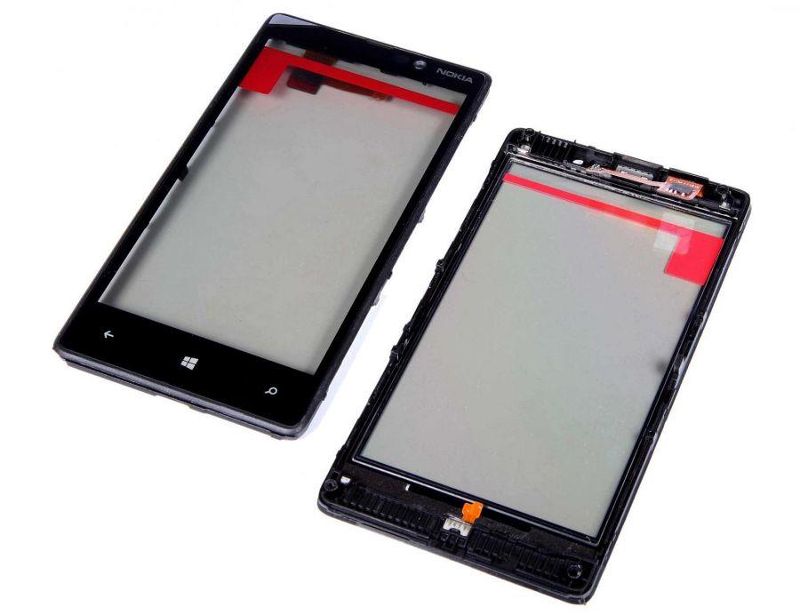 Тачскрин Nokia 820 Lumia (в раме) (black) Оригинал