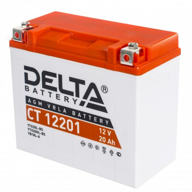 Мото аккумулятор АКБ Delta (Дельта) CT 12201 20Ач о.п. YTX20L-BS, YTX20HL-BS