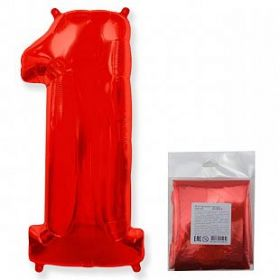 """Фигура """"1""""  (40""""/102 см) красный, в упаковке"""