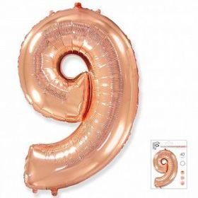 """Фигура """"9""""  (40""""/102 см) розовое золото, в упаковке"""