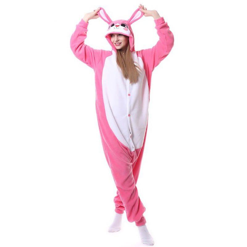 Пижама Кигуруми Заяц Розовый Темный