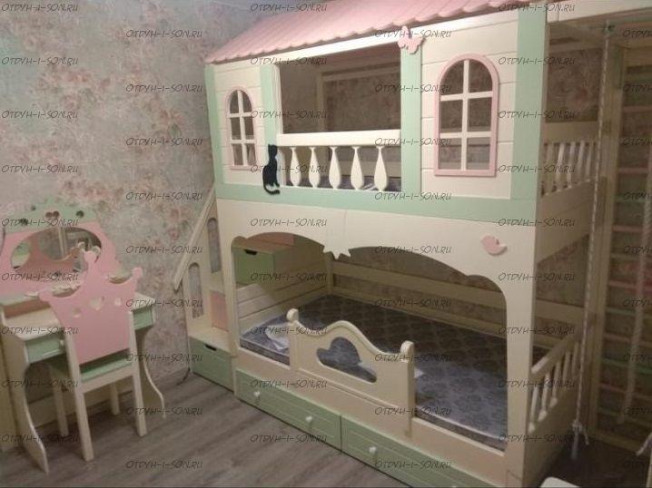 Кровать двухъярусная Домик Принцесса Fantasy №K08