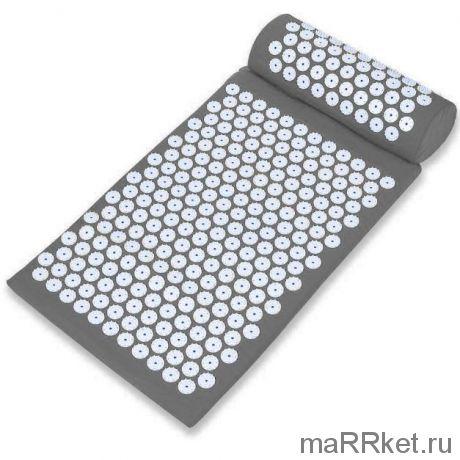 """Акупунктурный массажный комплект из коврика и валика """"Acupressure Mat"""" (серый)"""