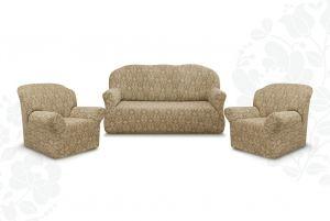 """Комплект чехлов """"Престиж"""" из 3х предметов (трехместный диван и 2 кресла)без оборки,10027 капучино"""