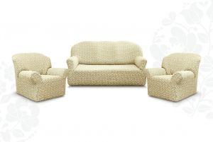 """Комплект чехлов """"Престиж"""" из 3х предметов (трехместный диван и 2 кресла)без оборки,10044 ваниль"""