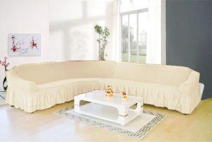 Чехол д/мягкой мебели Угловой 2-х пр.(3+1) кресла 1шт с оборкой (1шт.)  ,шампань