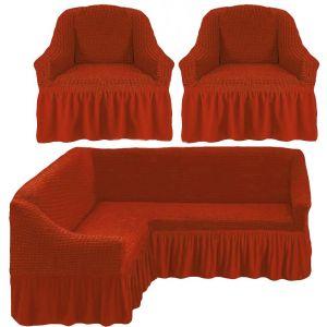 Чехол д/мягкой мебели Угловой 3-х пр.(3+1) кресла 2 шт с оборкой (1шт.)  ,кирпичный